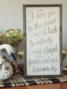 Infinity Love Letter Wood Framed Sign by WillowHillSigns on Etsy