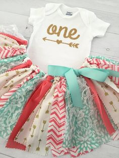 Coral/Pink, Mint/Teal/Turquoise and Gold, Arrow Skirt, Arrow Onesie, First Birthday Outfit/Fabric Tutu/Baby Girl/One Onesie/Shirt with Age Baby Girl First Birthday, First Birthday Outfits, Husband Birthday, Diy For Girls, Shirts For Girls, Teal Baby Showers, Fabric Tutu, Scrap Fabric, Baby Girl Skirts