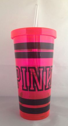 Pink by Victoria's Secret Pink Water Bottle Tumbler Black Letters GENUINE New #VictoriasSecret #pink #tumbler