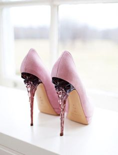 Crystal Architectural Shoes #heels #pink #crystal