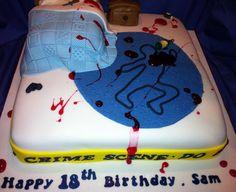 Crime scene birthday cake