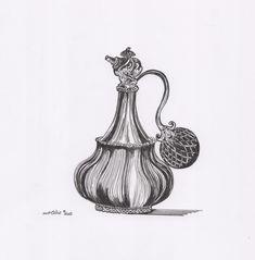 parfum bottle illustration by artlike. Sketches, Illustrations, Bottle, Drawings, Art, Art Background, Illustration, Flask, Kunst