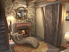 Master bedroom design concept facing fireplace. Stone wall or turquoise planks? 9.10.13