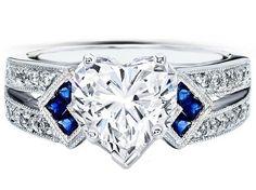 Heart Shape Diamond Engagement Ring Trio Blue Sapphire double diamond band - ES1152HSWG