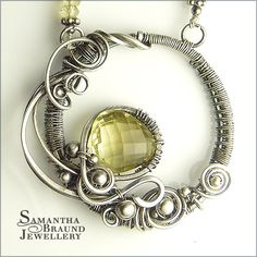 Lemon quartz and sterling silver wire-wrapped finished necklace