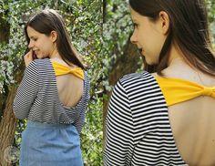 Sewing striped back bow dress | Seemannsgarn