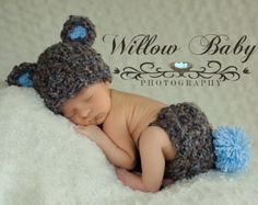 SALE & READY Baby Hat Baby Bear Hat Baby Boy Hat Made by PamKR