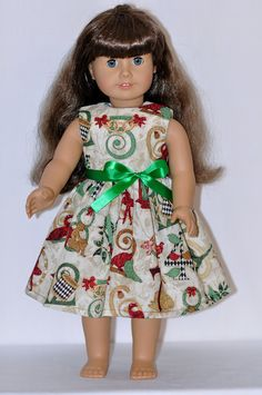 12 Days Of Christmas Dress and Ribbon Fits by DollClothesByChun, $10.00