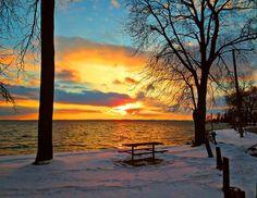 Winter Sunset - Keswick Ontario