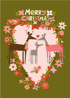 CARDS :: NEW! Merry Christmas Deer - Ecojot - eco savvy paper products