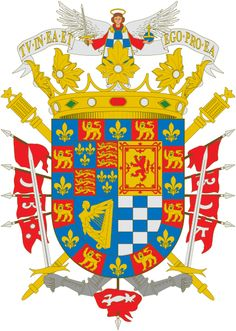 Coat of arms for Cayetana Fitz-James Stuart, Duchess of Alba had close to 50 hereditary titles and the senior claimant to the English dukedom of Berwick (descended from King James II of England through an illegitimate son). James Stuart, Medieval, Spanish Royalty, Mystery Of History, Family Crest, Royal House, Crests, Coat Of Arms, Flag