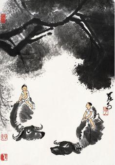 Li Keran(李可染) , 牧牛图. Li Keran(李可染; 1907–1989) was a renowned contemporary Chinese painter. He was born on March 26, 1907 in Xuzhou, Jiangsu Province, as Li Yongshun.