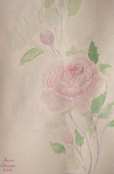 Original Aquarell Watercolour  Blumen  SHABBY CHIC  21x29,7 cm