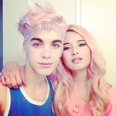 John Michael Houseman and Laura Sanchez dyed their hair with MANIC PANIC® Pink Cadillac hair dye (a limited edition color), and diluted it with the Manic Mixer/Pastel-izer™. Pastel pretty babies!