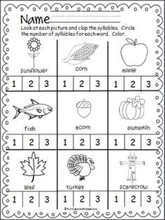 Fall Thanksgiving Syllables Practice Page is a simple and fun activity. Students say each word, clap the number of syllables, and circle the number. This page comes from my Harvest Time Math And Li… Syllables Kindergarten, Kindergarten Freebies, Kindergarten Language Arts, Teaching Kindergarten, Thanksgiving Preschool, Fall Preschool, Thanksgiving Worksheets, Preschool Songs, Fun Activities For Kids