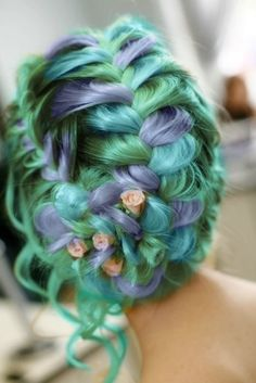 #mermaid #bride #updos #hairstyles #haircolors #extensions #hairdo #hairstyle #green #hair #purple #wedding #bridal #braids