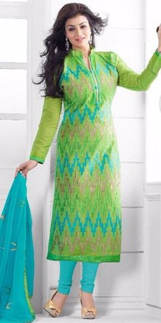 Teriffic Green And Blue Cotton Salwar Suit.