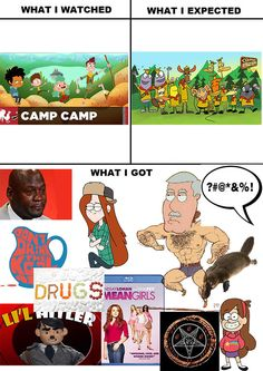 And I love it also the boy scouts kinda remind me of Ed Edd & Eddy and Perry the Platypus should be added because that's all my brain can think of Funny Memes, Hilarious, It's Funny, Camping Uk, Achievement Hunter, Imagenes My Little Pony, Fandom Memes, Rooster Teeth, Sad Art