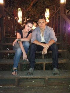 Vanessa Marano and Blair Redford on the set of Switched at birth