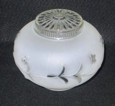 VINTAGE -FROSTED GLASS GLOBE FLOWERS SHADE CEILING LIGHT FIXTURE ART DECO