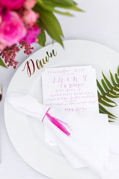 Pops of color in your stationery will make a bold statement. Gorgeous color and look! Tropical Palm Springs wedding: Samantha + Kyle