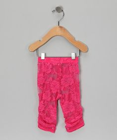 Loving this Hot Pink Lace Leggings - Infant, Toddler & Girls on #zulily! #zulilyfinds