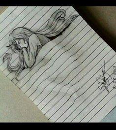 ノートに寝ている女