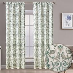 """Aubrie Home Accents Bulwick 2 Panel Pair of 84"""" Floral Scroll Print Window Curtains in Grey and Green Scroll Pattern, Window Curtains, Home Accents, Window Treatments, Green And Grey, Windows, Living Room, Elegant, Floral"""