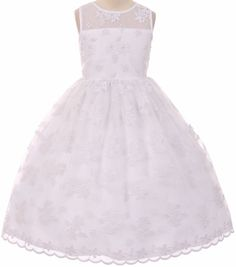 c136bc72d69 Shop for Flower Girl Dress Lace Throughout Pearls Decorate White TR Get free  delivery at Overstock - Your Online Children s Clothing Outlet Store!