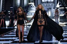 Best friends Taylor Swift and Karlie Kloss at Victoria's Secret Fashion Show London 2014.