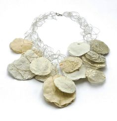 Necklace | Elida Kemelman.  Antique fabrics, sterling and fine silver, polymer.