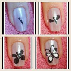 Hoje em dia, são cada vez mais as mulheres que não se limitam a pintar as unhas, procurando dar-lhes um toque especial, e assim, conferir ainda maior detal Butterfly Nail Designs, Butterfly Nail Art, Simple Butterfly, Nail Polish Designs, Nail Art Designs, Cute Nails, Pretty Nails, Hair And Nails, My Nails