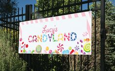 "Change to ""Janaiah's candy land"" AMAZING Candyland Party Photos + Inspiration! Candy Themed Party, Candy Land Theme, Birthday Candy, 10th Birthday Parties, Birthday Party Themes, 2nd Birthday, Birthday Ideas, Childrens Party, Candyland"