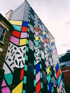 in between a couple of street art exhibtions in shoreditch last week, mad c and ben eine, i connected the two together with a little wonder of my favourite streets. Camille Walala, Memphis Milano, 80s Design, Tape Art, Modern Artists, Postmodernism, Graphic Design Inspiration, Graffiti, Skyline