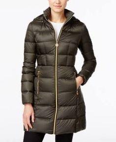 e5f666b615 Michael Michael Kors Hooded Long Packable Down Puffer Coat - Green S  Michael Kors Puffer Coat