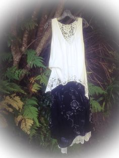 Check out Boho, Lagenlook Dress. Bodice in White Cut Lace. Separate Petticoat in soft white lawn and satin. Vintage French Lace and Crochet Doillies.. on fleursenfrance