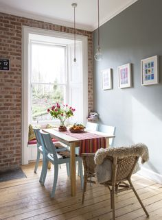 Brick Slip Wall by Slimbrick - Walls in 'Pigeon' by Farrow and Ball. Interiors by Emily Smoor at Fantoush. Bollywood pictures. Brick kitchen wall.