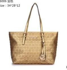 8bb12c358d8 Wish You Have A Haapy Time On Our Michael Kors Perforated Metallic Logo  Large Gold Totes Store!