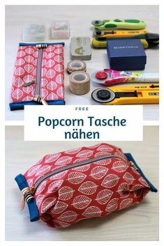 FREEBIE: Sew a quick folding bag - FREEBIE: Sewing a quick folding bag Sewing a popcorn bag: A sewing idea that is particularly succes - Sewing Projects For Beginners, Sewing Tutorials, Sewing Hacks, Sewing Tips, Sewing Patterns Free, Free Sewing, Free Pattern, Fat Quarter Projects, Popcorn Bags