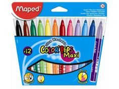 Maped Color Peps Maxi Washable Felt Markers, Large Tip, 12 Markers per Pack, Assorted Colors (846020) by Maped. $7.99. Maped is synonymous with continuous innovation, top design and high quality. Maped Color Peps Maxi Washable Felt Markers come in a pack of 12 markers. Each marker has a large felt tip point with a secure matching color lid to make sure the markers don't dry out. For easy identification, the ink color is printed on the barrel of each marker. Map...