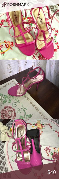 Anne Michelle pink summer sexy heels Pink, detailed (shown in last picture) strappy heels. Four inch heel, never worn other than when I tried them on. Too big for me. Size 8 M shoe. No box but will ship with care. Any questions, let me know. Xo Anne Michelle Shoes Sandals