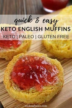 This Keto English Muffin will satisfy all your bread cravings in just 3 minutes! We love it topped with non-dairy butter and sugar free jam. Or make a savory version with eggs, sausage, and bacon. No Bread Diet, Best Keto Bread, Almond Recipes, Low Carb Recipes, Whole Food Recipes, Healthy Recipes, Protein Recipes, Healthy Snacks, Dinner Healthy