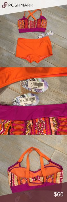 NWT- PrAna fuchsia tribal top orange boy short NWT- PrAna fuchsia tribal top and orange boy short. Cute combo of colors! Prana Swim Bikinis