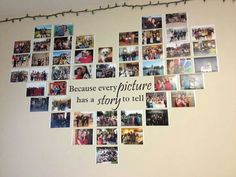 Create a photo wall without picture frames - Ideas and suggestions- Fotowand gestalten ohne Bilderrahmen – Ideen und Anregungen Photo wall without picture frame Wall decal heart shape - Diy Room Decor, Bedroom Decor, Bedroom Wall, Bedroom Ideas, Dorms Decor, Collage Mural, Canvas Collage, Collage Frames, Painting Canvas