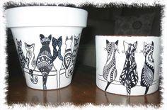 Clay Flower Pots, Flower Pot Crafts, Clay Pot Crafts, Cat Crafts, Clay Pots, Diy And Crafts, Painted Plant Pots, Painted Flower Pots, Pots D'argile