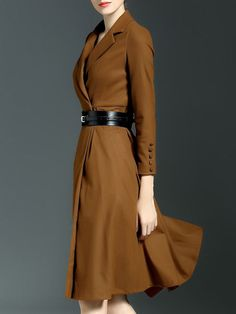Buttoned Pockets Midi Dress with Belt