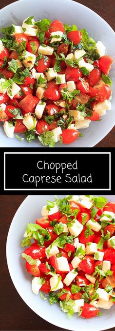 Chopped caprese salad, 5 ingredients and ready in 10 minutes. An easy way to enjoy this delicious gluten-free appetizer any time you want! This fresh salad will keep you coming back for more. Vegetarian Appetizers, Yummy Appetizers, Vegetarian Recipes, Cooking Recipes, Caprese Appetizer, Ensalada Thai, Caprese Salat, Crudite, Clean Eating
