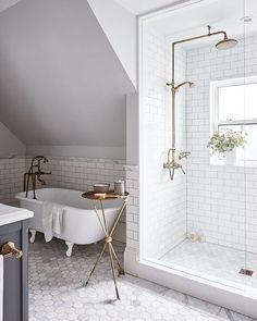 Inspired Spaces | Bathrooms | Subway Tile | Hexagon Tile | Clawfoot Bathtub | Brass Fixtures