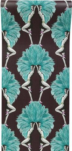"""Melissa Scott - 'Showgirls Wallpaper Blue' """"A fabulous wallpaper design evoking a graphic, contemporary take on a classic Burlesque theme, while maintaining an Wallpaper Paste, Wallpaper Roll, Wall Wallpaper, Burlesque Theme, Extra Image, Unique Wallpaper, Textiles, Blue Feather, Metallic Pink"""