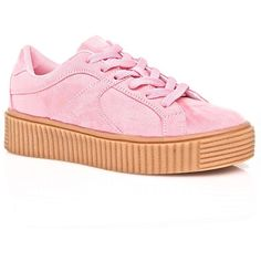 Pink Vegan Suede Creeper Sneakers ($30) ❤ liked on Polyvore featuring shoes, sneakers, laced sneakers, suede sneakers, vegan leather shoes, lace up shoes and pink trainers